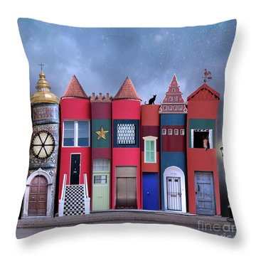 Book Houses Throw Pillow
