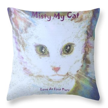Book Misty My Cat Throw Pillow by Denise Fulmer
