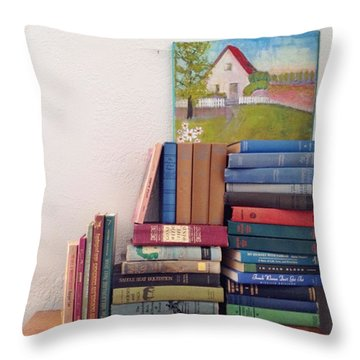 Book Stacks Full Of Old Classics Throw Pillow