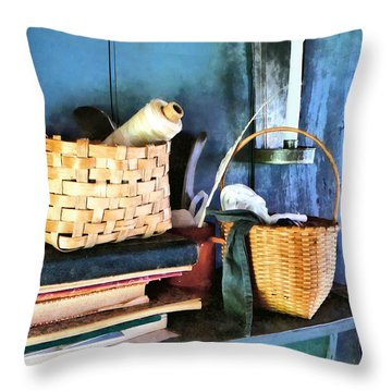 Books And Baskets Throw Pillow by Susan Savad
