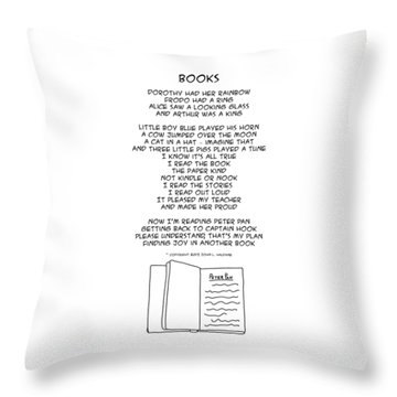 Throw Pillow featuring the drawing Books by John Haldane