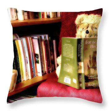 Bookworm Ted Throw Pillow