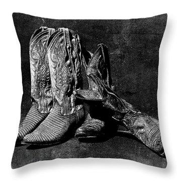 Boot Friends - Art Bw Throw Pillow