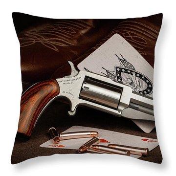 Boot Gun Still Life Throw Pillow