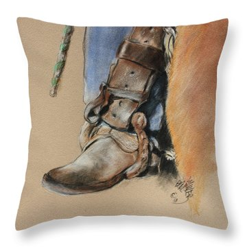 Boot In Oxbow Stirrup Throw Pillow