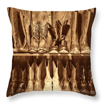 Boot Rack Throw Pillow by American West Legend By Olivier Le Queinec