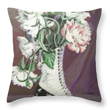 Booted Peonies Throw Pillow