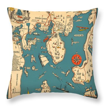 Boothbay Harbor And Vicinity - Vintage Illustrated Map - Pictorial - Cartography Throw Pillow
