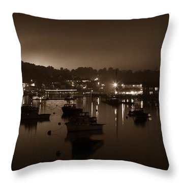 Boothbay Harbor At Night Throw Pillow