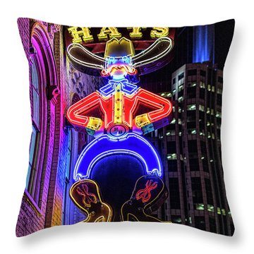 Boots And Hat Neon Sign Throw Pillow