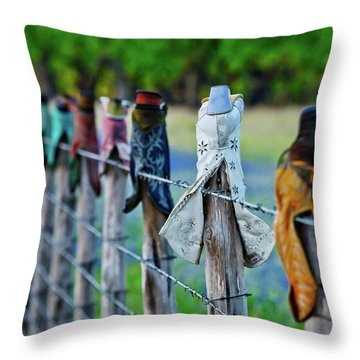 Throw Pillow featuring the photograph Boots On The Fence by Linda Unger
