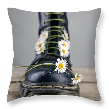 Boots With Daisy Flowers Throw Pillow
