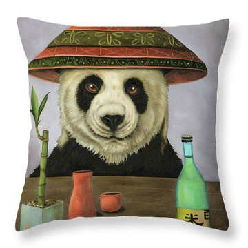 Throw Pillow featuring the painting Boozer 4 by Leah Saulnier The Painting Maniac