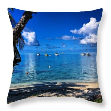 Bora Bora #frenchpolynesian #tropical Throw Pillow by David Gale