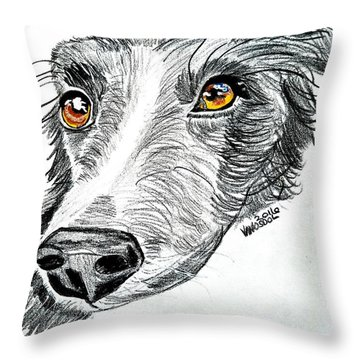 Border Collie Dog Colored Pencil Throw Pillow