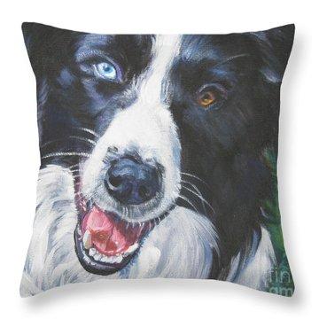 Border Collie Throw Pillow by Lee Ann Shepard