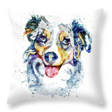 Throw Pillow featuring the mixed media Border Collie  by Marian Voicu
