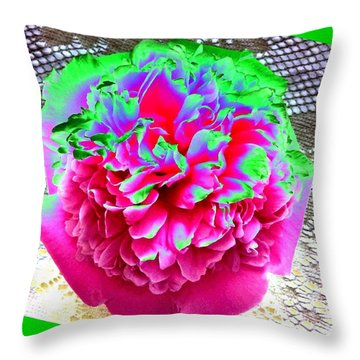 Bordered Peony Abstract Throw Pillow