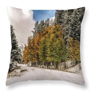 Boreas Pass Road Aspen And Snow Throw Pillow