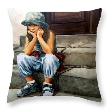 Bored Throw Pillow by Natalia Tejera