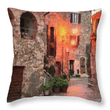 Throw Pillow featuring the painting Borgo Medievale by Rosario Piazza