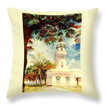 Borinquen Lighthouse Aguadilla Puerto Rico Throw Pillow by Estela Robles