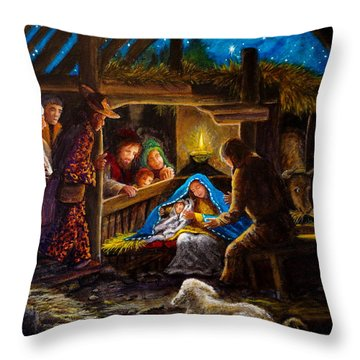 Born In A Manager Throw Pillow