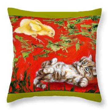 Throw Pillow featuring the painting Born To Be Wild by Hiroko Sakai