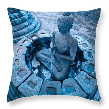 Borobudur Temple Throw Pillow by Luciano Mortula