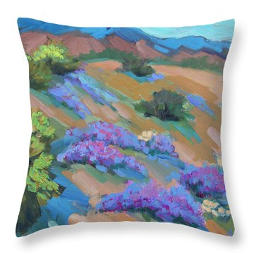 Throw Pillow featuring the painting Borrego Springs Verbena by Diane McClary