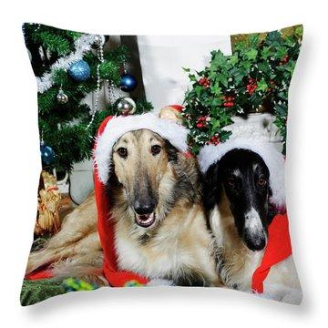 Borzoi Puppies Wishing A Merry Christmas Throw Pillow