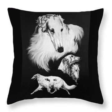 Throw Pillow featuring the drawing Borzoi by Rachel Hames
