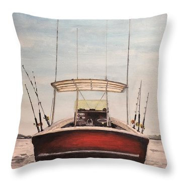 Helen's Boat Throw Pillow by Stan Tenney