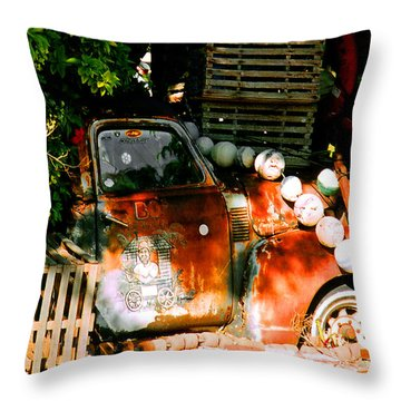 B.o.'s Fish Wagon In Key West Throw Pillow