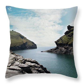 Throw Pillow featuring the photograph Boscastle Cornwall by Rebecca Cozart