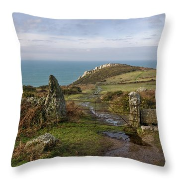 Bosigran In North Cornwall Throw Pillow