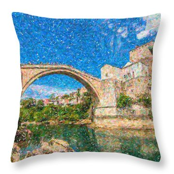 Bosnia Mostar Herzegovina Europe Travel Landmark Throw Pillow