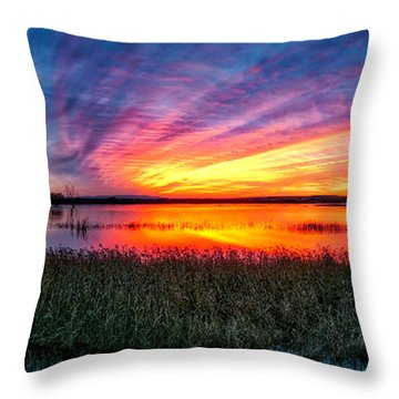 Throw Pillow featuring the photograph Bosque Sunrise by Kristal Kraft
