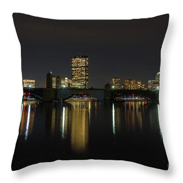 Boston Skyscrappers Behind Bridge Throw Pillow
