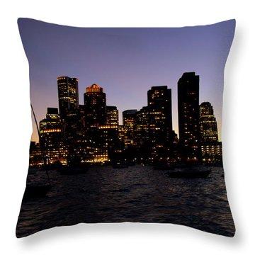 Boston At Night Throw Pillow