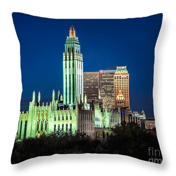 Boston Avenue Methodist Church At Twilight Throw Pillow
