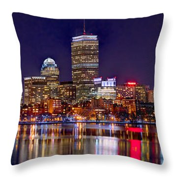 Throw Pillow featuring the photograph Boston Back Bay Skyline At Night 2017 Color Panorama 1 To 3 Ratio by Jon Holiday