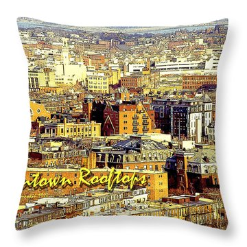 Throw Pillow featuring the digital art Boston Beantown Rooftops Digital Art by A Gurmankin