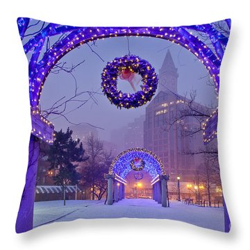 Boston Blue Christmas Throw Pillow by Susan Cole Kelly