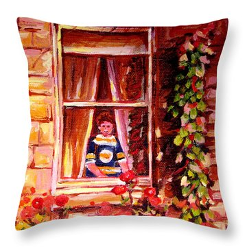 Boston Bruin Fan Throw Pillow by Carole Spandau