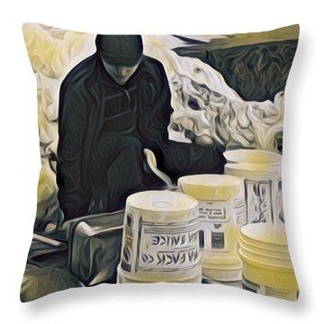 Boston Bucket Man Throw Pillow