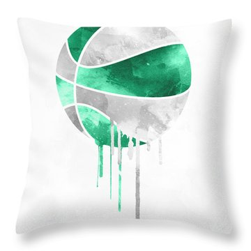 Boston Celtics Dripping Water Colors Pixel Art Throw Pillow