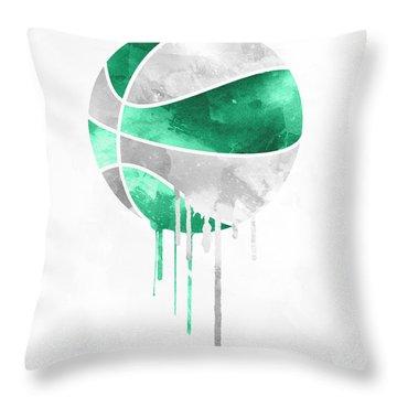 Boston Celtics Dripping Water Colors Pixel Art Throw Pillow