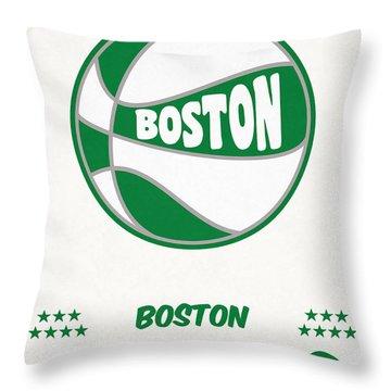 Boston Celtics Vintage Basketball Art Throw Pillow
