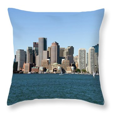 Boston City Skyline Throw Pillow